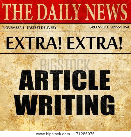 article writing, article text in newspaper