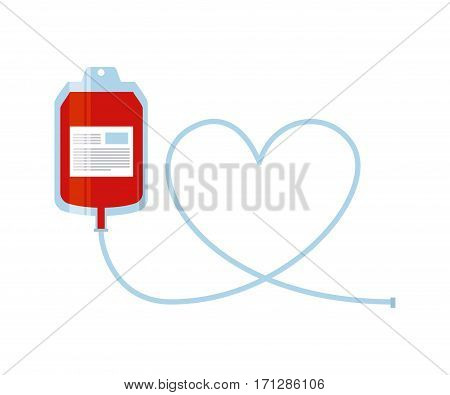 blood bag icon over white background. donate blood concept. colorful design. vector illustration