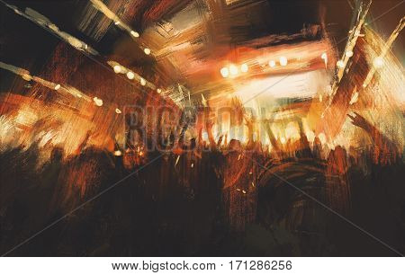 digital painting showing cheering crowd at concert