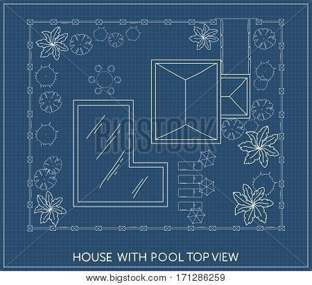 Landscape Plan of the house with swimming pool, furniture and trees in top view. Outdoor plan
