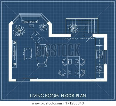 Living room and kitchen plan with hand-drawn furniture in top view. Architectural plan. Vector illustration