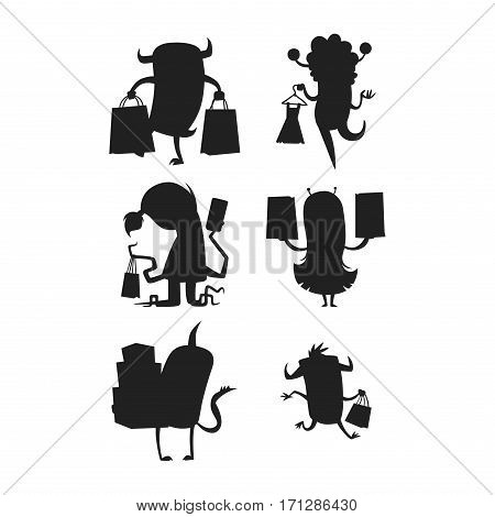 Cartoon silhouette monster shopping vector character illustration. Business buying consumerism funny happy mascot. Alien devil creature colorful ugly toy.