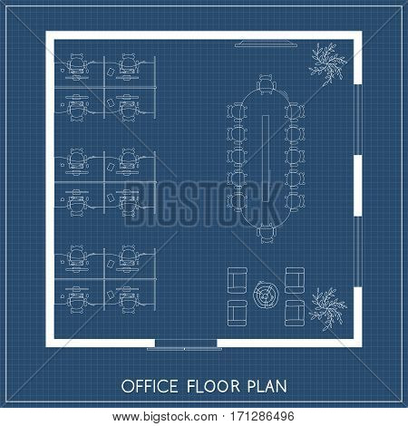 Office interior project top view plan with reception, meeting room and working space. Architectural plan. Vector illustration
