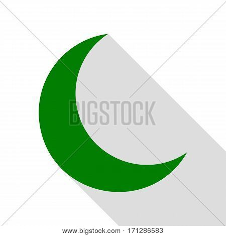 Moon sign illustration. Green icon with flat style shadow path.