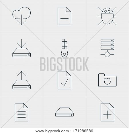 Vector Illustration Of 12 Network Icons. Editable Pack Of Privacy Doc, Hard Drive Disk, Removing File And Other Elements.