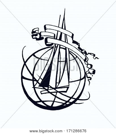 Vector illustration for traveling and logistigs design. Earth globe with ship and ribbons. Retro style.