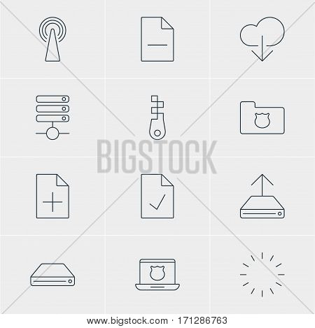 Vector Illustration Of 12 Web Icons. Editable Pack Of Server, Checked Note, Fastener And Other Elements.