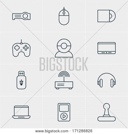 Vector Illustration Of 12 Hardware Icons. Editable Pack Of Game Controller, Usb Card, Joypad And Other Elements.
