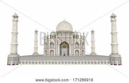 Taj Mahal isolated on white background. 3D render