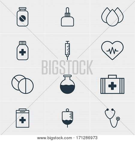 Vector Illustration Of 12 Medical Icons. Editable Pack Of Antibody, Medicament Pitcher, Heart Rhythm And Other Elements.
