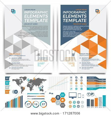 Orange  and blue Brochure template design. Cover layout and infographics.