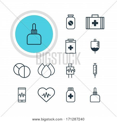 Vector Illustration Of 12 Health Icons. Editable Pack Of Heart Rhythm, Vaccinator, Medical Bag And Other Elements.