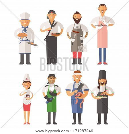 Professional cooking chefs working in restaurant wearing classic traditional uniform set of cartoon characters. Recipe worker garnish kitchen cuisine human.