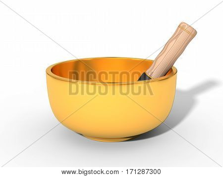 metal chakra bowl with wooden details. 3d illustration, isolated on white.