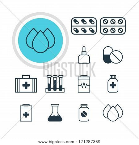 Vector Illustration Of 12 Medical Icons. Editable Pack Of Treatment, Exigency, Pills And Other Elements.