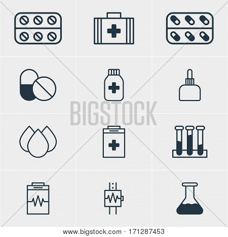 Vector Illustration Of 12 Medical Icons. Editable Pack Of Exigency, Medicament Pitcher, Pills And Other Elements.