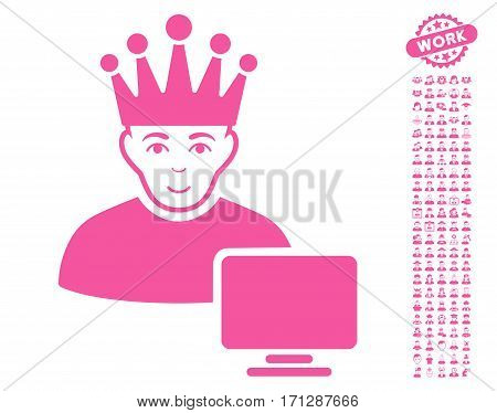 Computer Moderator pictograph with bonus occupation pictures. Vector illustration style is flat iconic pink symbols on white background.