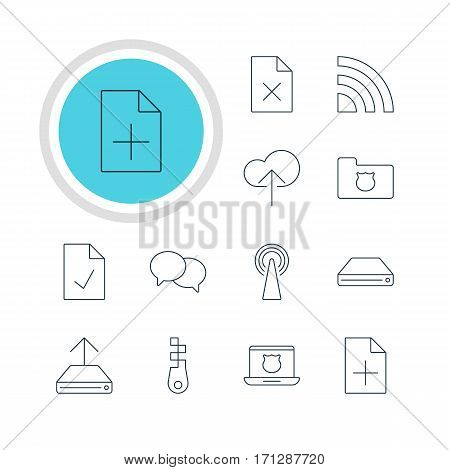 Vector Illustration Of 12 Internet Icons. Editable Pack Of Hard Drive Disk, Privacy Doc, Cloud Download And Other Elements.