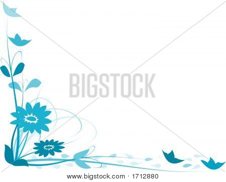 Abstract blue floral illustration on white background poster