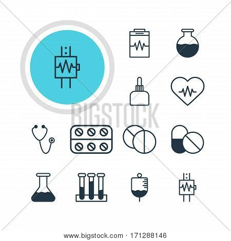 Vector Illustration Of 12 Health Icons. Editable Pack Of Vial, Medicament Pitcher, Heartbeat And Other Elements.