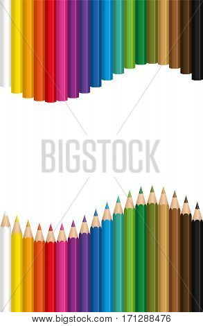 Crayons forming a colorful wave - isolated vector illustration on white background.