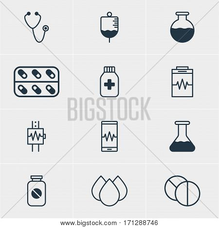 Vector Illustration Of 12 Health Icons. Editable Pack Of Pulse, Medicine, Vial And Other Elements.