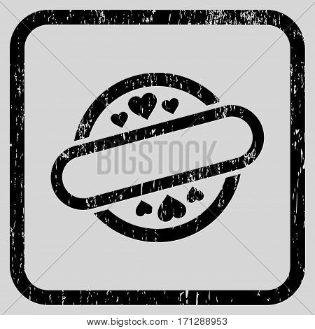 Love Stamp Seal rubber watermark. Vector icon symbol inside rounded rectangular frame with grunge design and dirty texture. Stamp seal illustration. Unclean black ink sign on a light gray background.