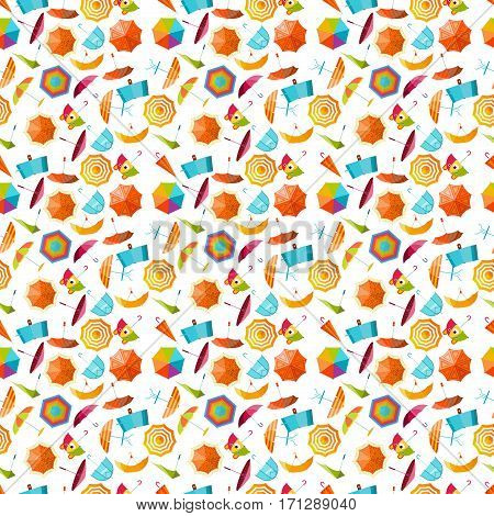 Cute multi colored umbrella seamless pattern flat design style. Autumn accessory concept fashion umbrella. Colorful flat comfort umbrella outdoor element, climate protective seamless pattern.