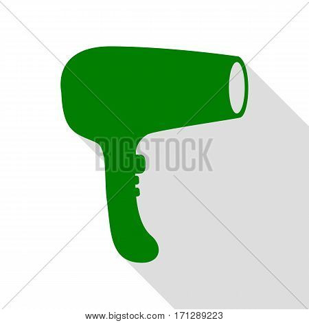 Hair Dryer sign. Green icon with flat style shadow path.