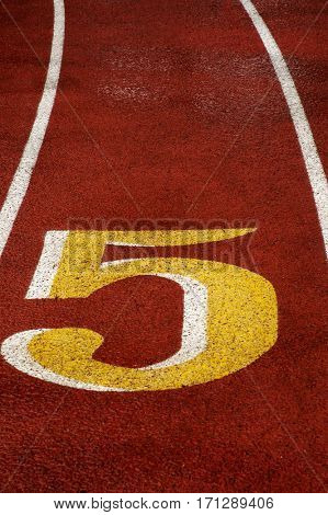 Detail of race track for running competitions numbers and lanes