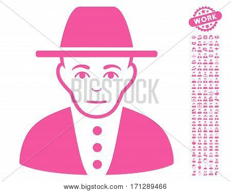 Jew icon with bonus men pictures. Vector illustration style is flat iconic pink symbols on white background.
