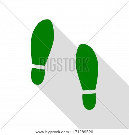 Imprint soles shoes sign. Green icon with flat style shadow path.