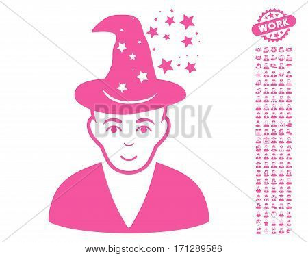 Magic Master pictograph with bonus men design elements. Vector illustration style is flat iconic pink symbols on white background.