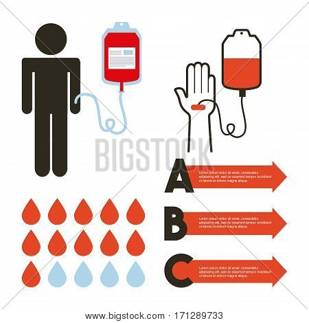 infographic presentation of donate blood concept. colorful design. vector illustration