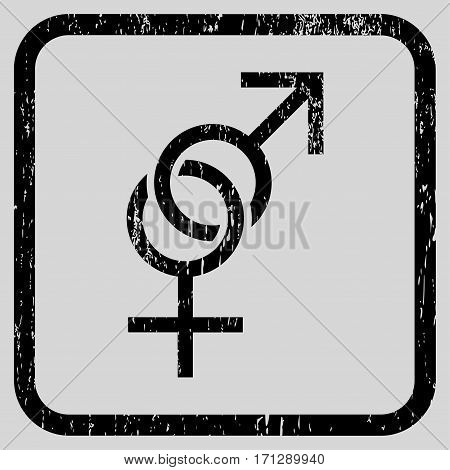 Sex Symbol rubber watermark. Vector icon symbol inside rounded rectangle with grunge design and scratched texture. Stamp seal illustration. Unclean black ink sticker on a light gray background.