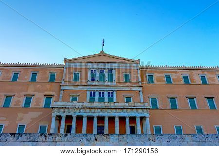 Hellenic Parliament of Greece situated in Old Royal Palace on Syntagma Square in Athens, Greece