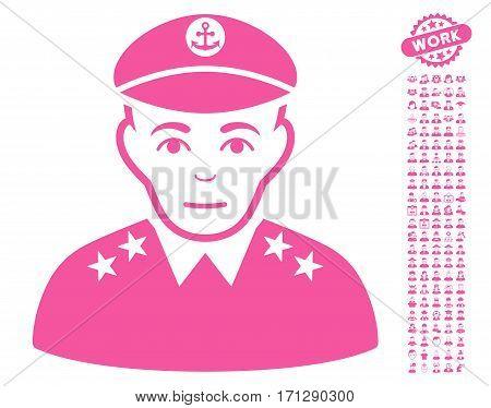 Military Captain icon with bonus avatar design elements. Vector illustration style is flat iconic pink symbols on white background.