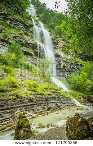 Waterfall in the spanish national park Ordesa and Monte Perdido Pyrenees