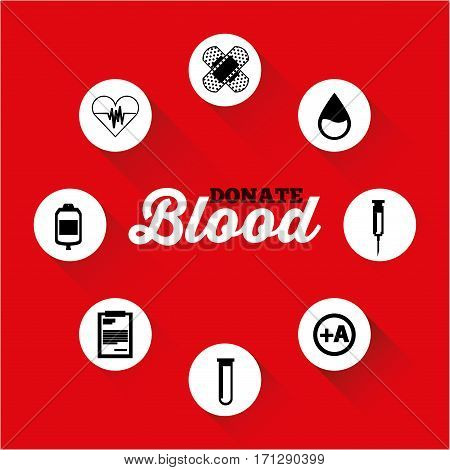 medicine icons over red background. donate blood concept. colorful design. vector illustration