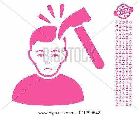 Murder With Hammer icon with bonus human pictograms. Vector illustration style is flat iconic pink symbols on white background.