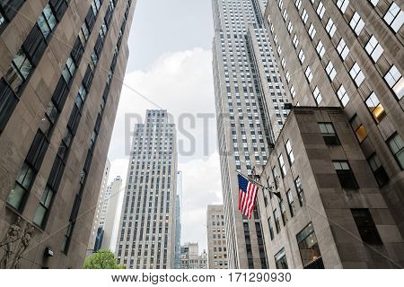 American Flag On The Streets Of Manhattan