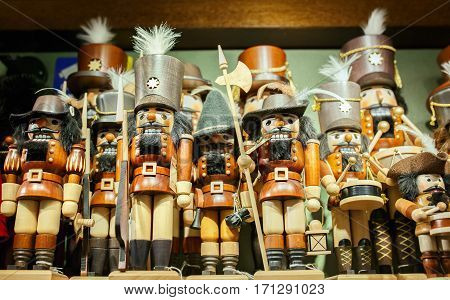 Traditional wooden Figurines of Christmas Nutcrackers. Belgium
