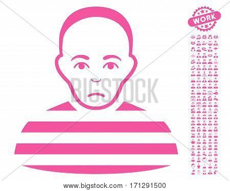 Prisoner icon with bonus people symbols. Vector illustration style is flat iconic pink symbols on white background.