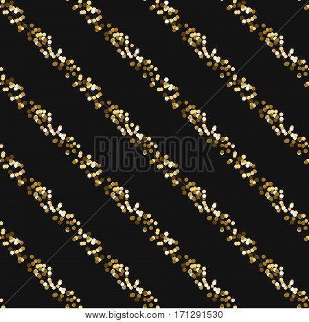 Gold foil glitter line stripes dark seamless pattern. Vector shimmer abstract oblique lines grey texture. Sparkle shiny striped background.