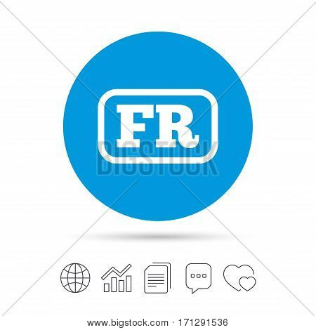 French language sign icon. FR France translation symbol with frame. Copy files, chat speech bubble and chart web icons. Vector