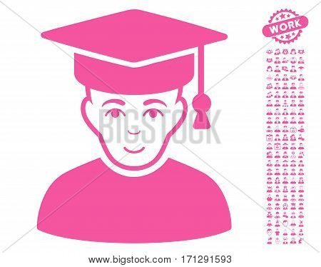 Professor pictograph with bonus men pictures. Vector illustration style is flat iconic pink symbols on white background.
