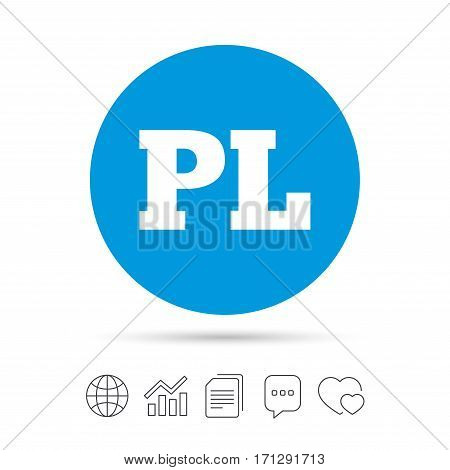Polish language sign icon. PL translation symbol. Copy files, chat speech bubble and chart web icons. Vector