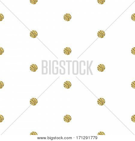 Gold foil shimmer glitter polkadot white seamless pattern. Vector shimmer abstract circles golden texture. Sparkle shiny balls background.