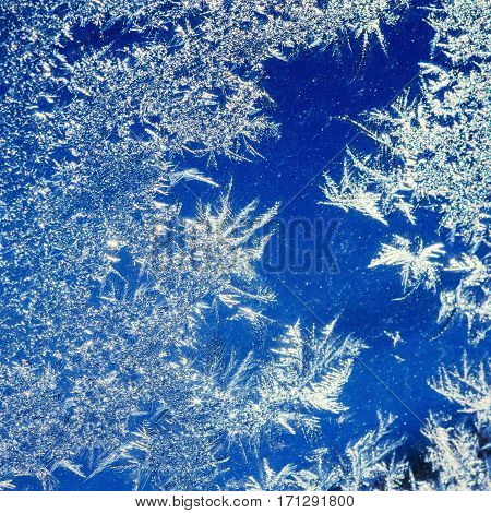 ice crystals on a window. Ukraine. Europe