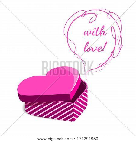 Pink Gift Box In The Form Of Heart. Gift Valentines Day.